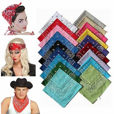 Colorful Cotton Paisley Bandanas Double Sided Head Wrap Scarf Wristband 22X22""