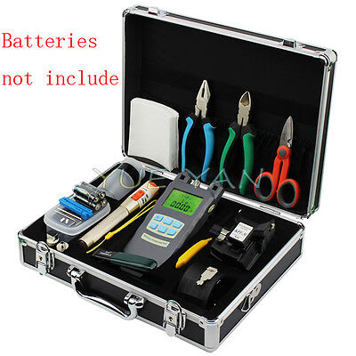 13pcs/set Fiber Optic FTTH Tool Kit Fiber Cleaver Optical Power Meter 10KM VFL