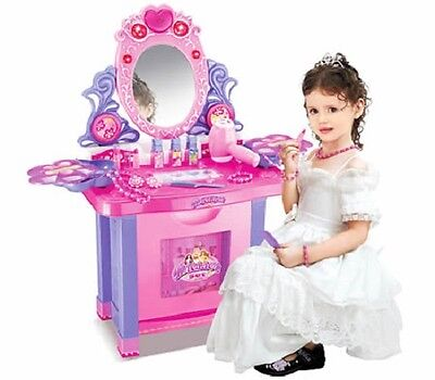 Girls Makeup Vanity Mirrored Dressing Table Play Set with Stool, Music and Light