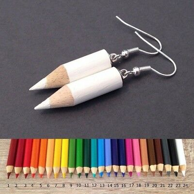 Colored Pencil Earrings Fun Funky Cool Cute Jewelry Kitsch Art Gift for Teacher