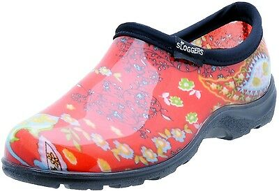 Sloggers 5104RD08 Women's Garden Shoes, Paisley Red, Size 8