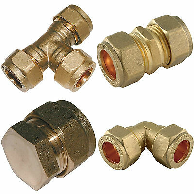 COMPRESSION Plumbing Fittings Brass MM - ELBOW TEE STOP END COUPLING (STRAIGHT)