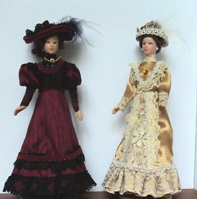 Dolls House Dolls:  Set of Two Porcelain  Lady Dolls    in 12th scale