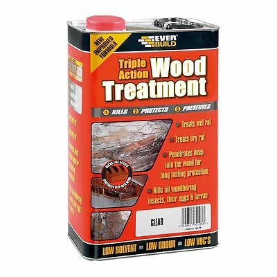 Everbuild TRIPLE ACTION WOOD TREATMENT Preserver Dry & Wet Rot Decay - 1 Litre