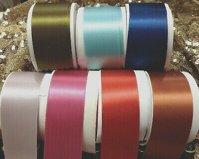 "VINTAGE 1.5"" Antique RAYON Blend Double Sided Satin Ribbon 1yd Made in France"