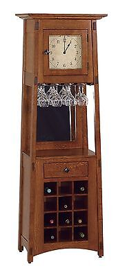 Amish Mission Clock Wine Rack Bar Tower Solid Wood Grandfather Style