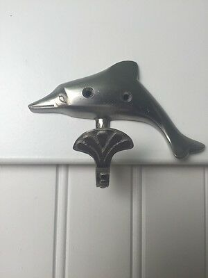 *3 Pack* Satin Nickel Decorative Splashing Dolphin Hooks