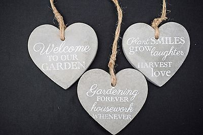 Stone Garden Plaque Heart Shaped Wall Plaque Sign With Phrase Various Designs