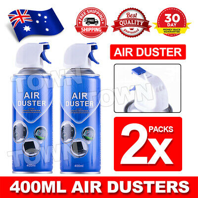 2x 400ml Compressed Air Duster Cleaner Can For PC Notebook Laptop Keyboard
