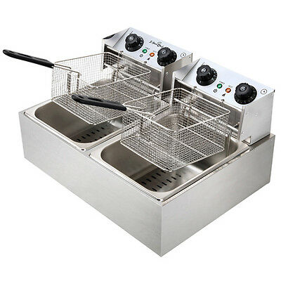 5-Star Chef Stainless Steel Electric Double Deep Fryer W/ Auto Thermostat