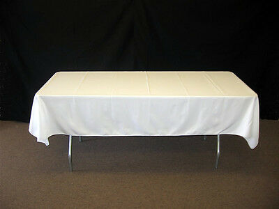 White Rectangle Table Polyester Fabric Tablecloth For Catering Party