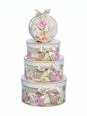 Gift Boxes-Pretty Pink Floral Round Boxes-Nest of 4 -Mothers Day, Birthdays 970