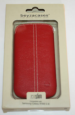 BEYZACASES ZEROSLIM GENUINE LEATHER CASE FOR SAMSUNG GALAXY i9300 S3 - RED- NEW