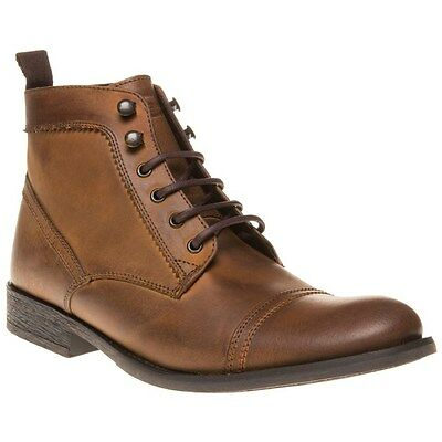 New Mens Base London Tan Hazel Leather Boots Lace Up