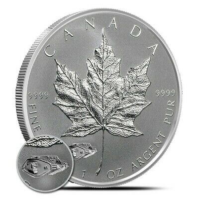 2016 Canadian Maple Leaf 1 oz 9999 Silver Reverse Proof Coin W/Mark V Tank Privy