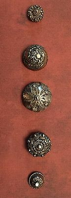 Gorgeous Card Of 5 Antique Silver & Silver Filagree Buttons