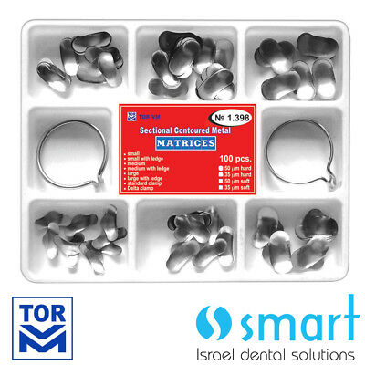Dental  Kit of Sectional Contoured Matrices 100 pcs with 2 rings 35 um hard