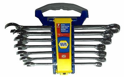NAPA 7 PC. Full Polish Extra Long Pattern Combination Wrench Set METRIC