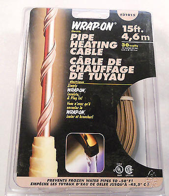 Wrap On 31015 Heat Tape 15' Pipe Heating Cable 120V 30W With Thermostat