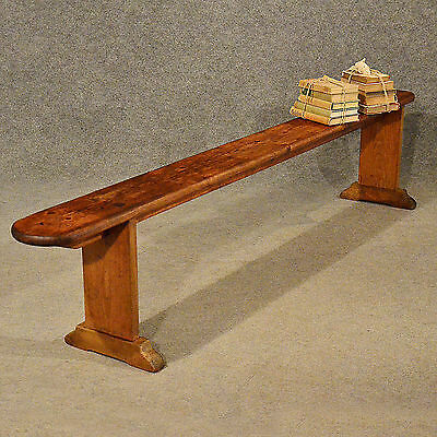 "Antique 7' 4"" Pine Bench Pew Stool Long Seat Quality English Victorian c1900"