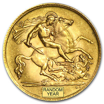 1887-2014 Great Britain Gold 1/2 Sovereign Avg Circ - SKU #10982