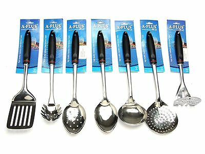 7 Pc Kitchen Cooking Utensil Set Serving Tools Spatula Spoon Stainless Steel
