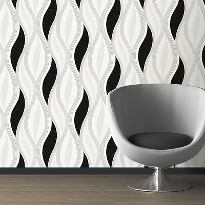 White Black Silver Grey sparkle modern Wave design Wallpaper