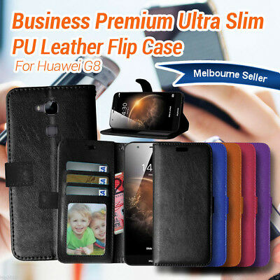 Premium Flip Leather Wallet Protective Phone Case Cover For Huawei G8 AU