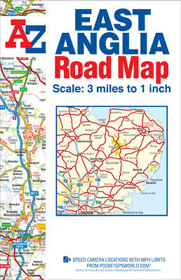 A-Z East Anglia Road Map (Sheet map, Folded, Road Map)