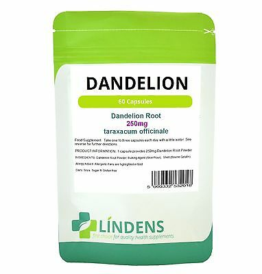 Dandelion 250mg Whole Root Herbal Capsules x 60 Liver Detox Water Retention Skin