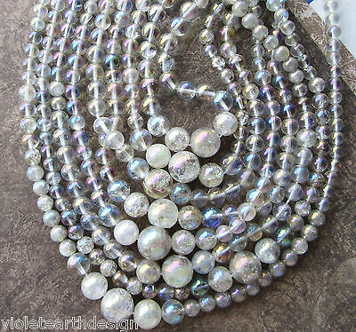 "16"" Strand of Natural Crackle Quartz graduated Round Beads Electroplate 6-15mm"