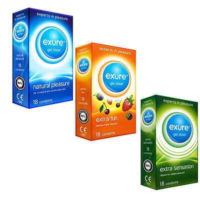 18 Pack Condoms from Exure Natural Flavoured Ribbed Big Multi Buy Discounts