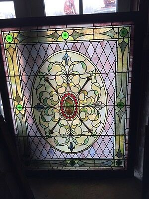 Sg 437 Amazing Jeweled Antique Stainglass Landing Window