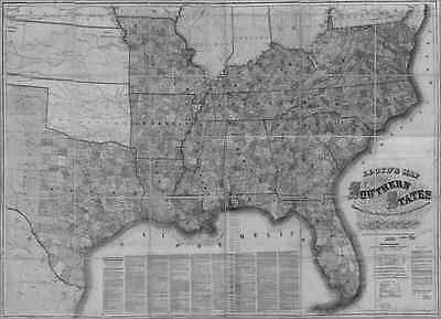US CONFEDERATE STATES 1862 MS MAP Gautier Greenville Greenwood Grenada Gulfport
