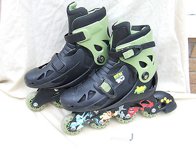 Ben 10 Boys In Line Skates,size Adjustable 13J To 3,little Used,clean Good Cond