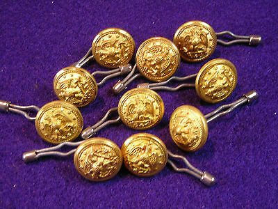 LOT OF 10 GOLD COLOR  ORIGINAL VINTAGE MILITARY BUTTONS - 1/2 INCH
