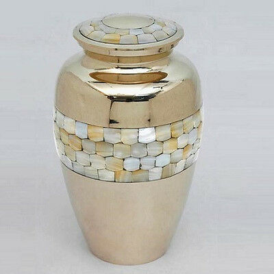 Classic Mother of Pearl Cremation Urn,  Brass Adult Urn NEW ~DEAL~