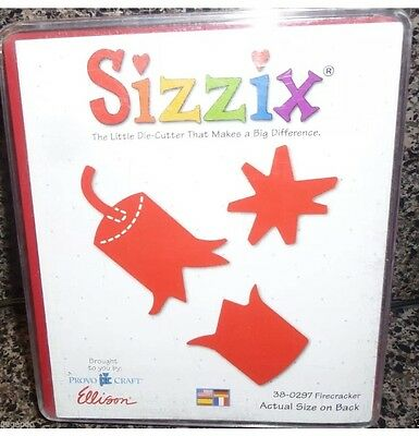 Sizzix FIRE CRACKER Red Large Die USED Scrapbook Cut SUMMER 4th JULY 38-0297