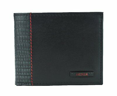 New Guess Men's Leather Double Billfold Credit Card Id Wallet Black 31Gu130002