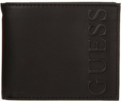 New Men's  Guess Leather Credit Card Wallet  Bifold 31gu22x002 Black