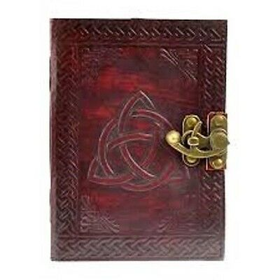 5X7 leather blank Journal TRIQUERTA lock embossed Book of Shadows Wicca Pagan