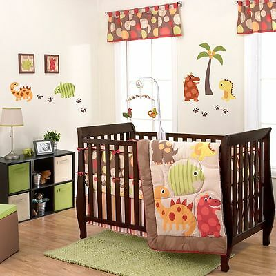 US Brand Dino World Baby Bedding Crib Cot Quilt Bumpers Sheet Wall Decal Art New