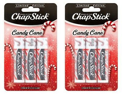 x2 Chapstick Limited Edition Holiday Candy Cane ( Pack of 3 ) .15 oz -CARDED