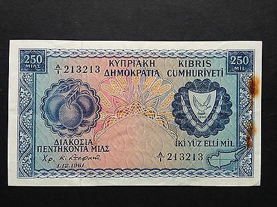 Cyprus 250 Mils P37a First Prefix A/1 213213 Repeater Number Dated 1961 VF+