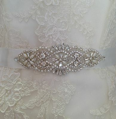 Bridal Wedding Dress Belt Sash Pearl And Crystal Sparkle Ivory Ribbon Tie B106