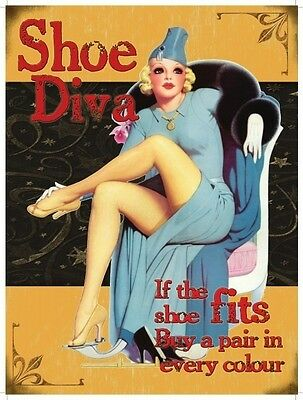 Shoe Diva, 50's Pinup, Funny/Humorous, Small Metal/Tin Sign, Picture, Plaque