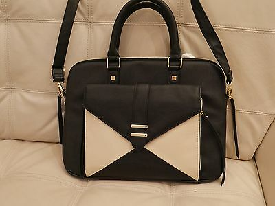New Steve Madden Laptop Computer Tablet Case Shoulder Bag Black Cream Leather