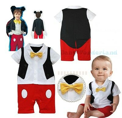 Baby Boys Cotton Mickey Mouse Costume Jumpsuit Romper One Piece Size 0-3Year
