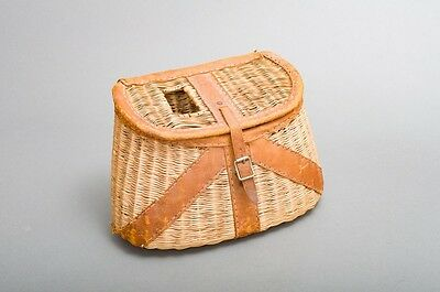 Antique Tight Weave Wicker & Leather Fishing Creel Basket Made in japan #14