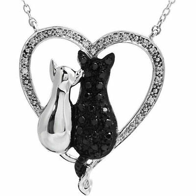 """Black & White Diamond Cats Heart 18"""" Necklace In Sterling Silver (1/5 ct. tw.)"""